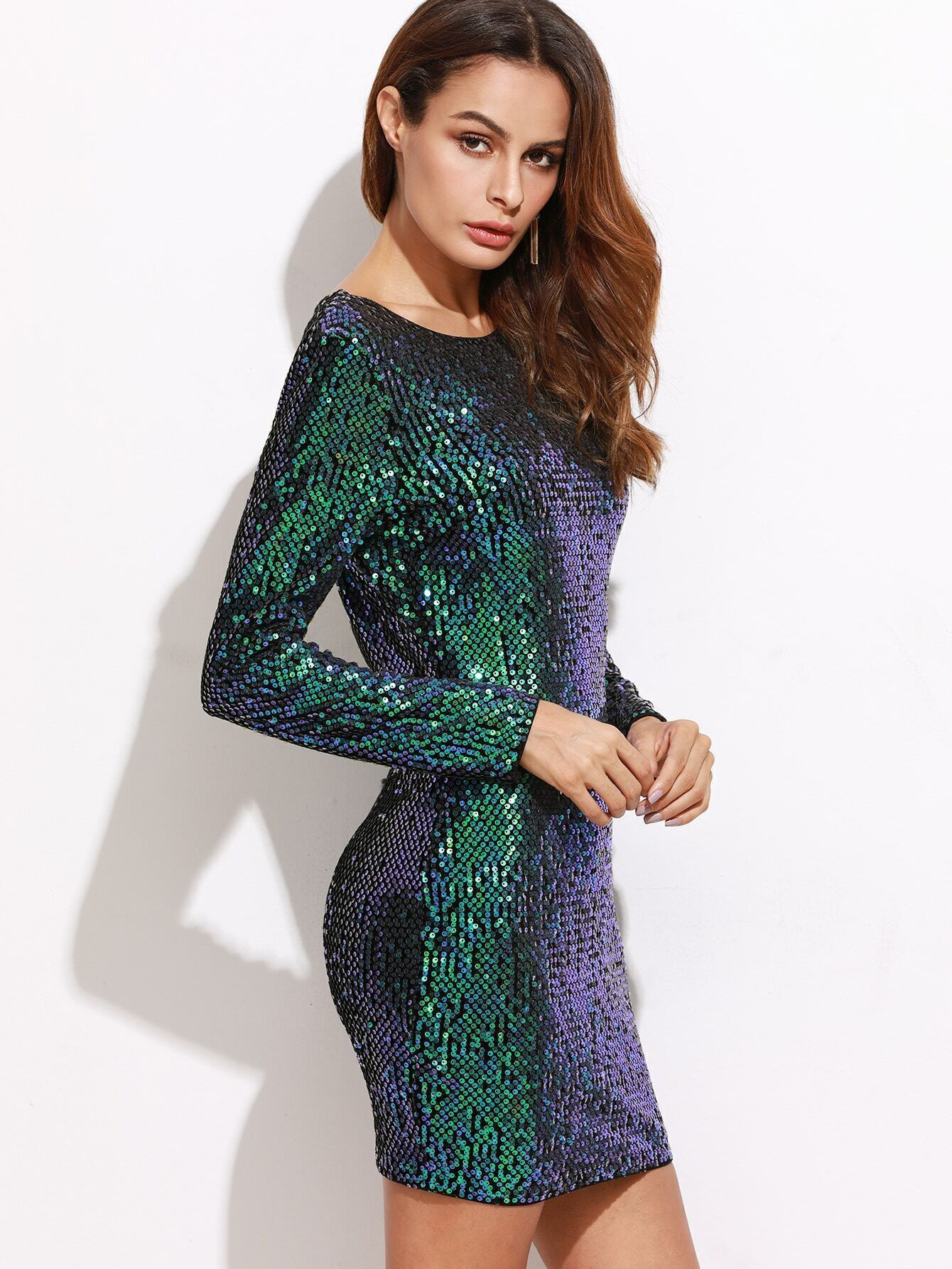 f4d642357c Iridescent Green Open Back Sequin Bodycon Dress EmmaCloth-Women Fast ...