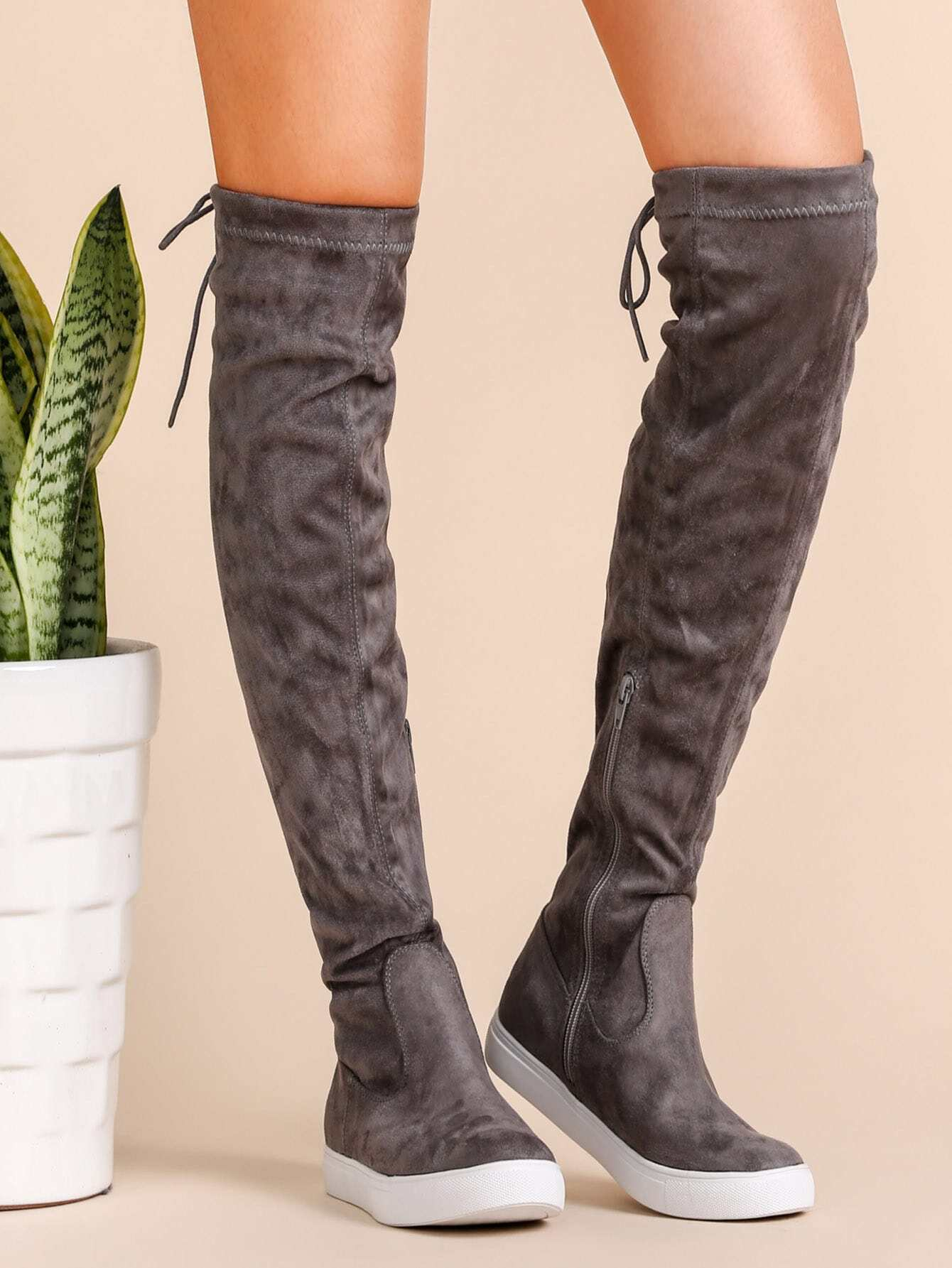 ce59155a5c Grey Round Toe Tie Back Over The Knee Boots EmmaCloth-Women Fast ...