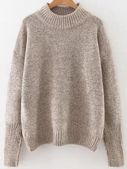 Khaki Crew Neck Ribbed Trim Drop Shoulder Sweater pictures