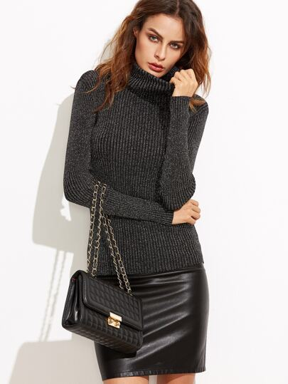 Black Turtleneck Ribbed Sweater pictures