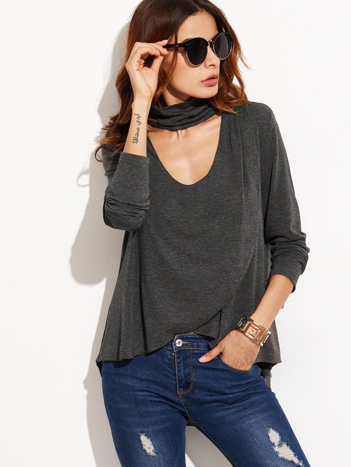 919b2b0cee4 Heather Grey Choker Neck Overlap T-shirt EmmaCloth-Women Fast ...