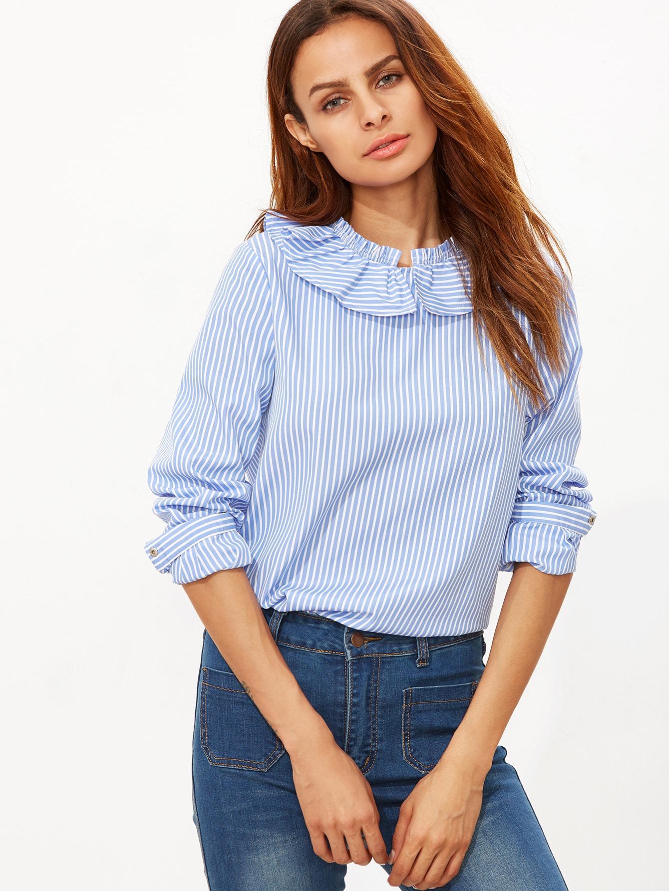02a8a80094f Blue Striped Ruffle Collar Button Back Blouse EmmaCloth-Women Fast ...