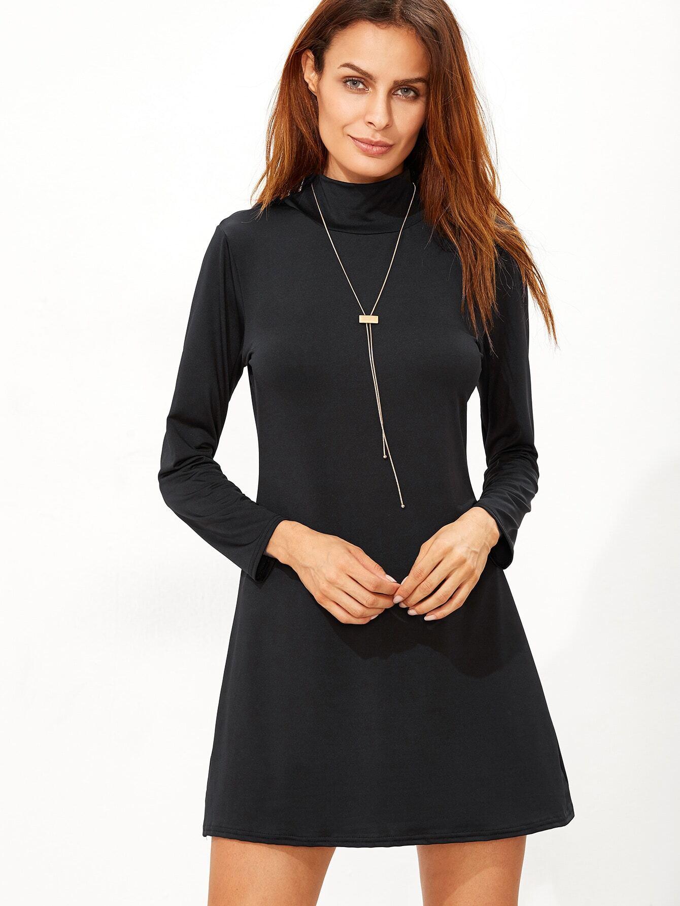 Black High Neck T-shirt Dress EmmaCloth-Women Fast Fashion Online 3c1e2cbdb