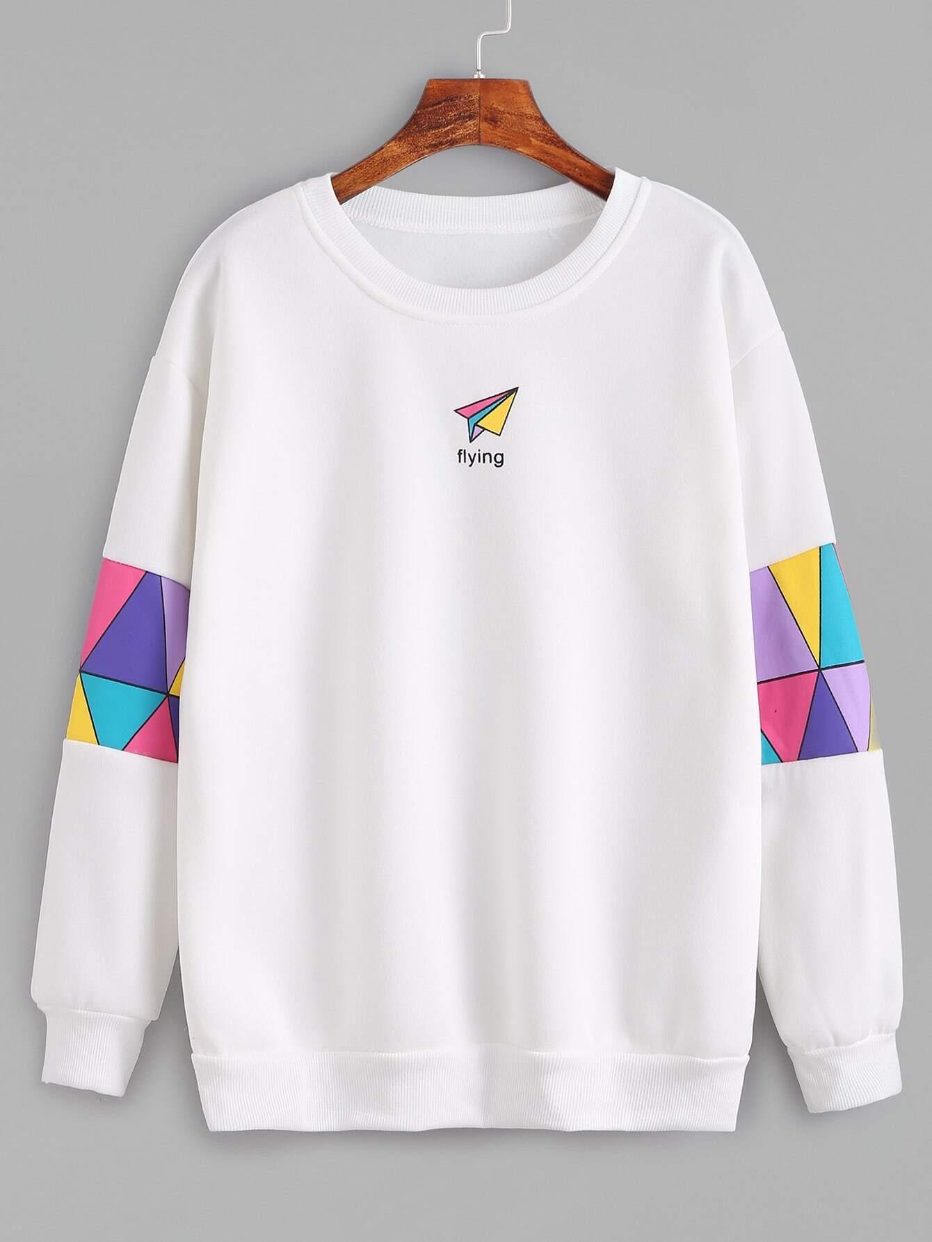 b3b212e9ec White Patchwork Print Sweatshirt EmmaCloth-Women Fast Fashion Online