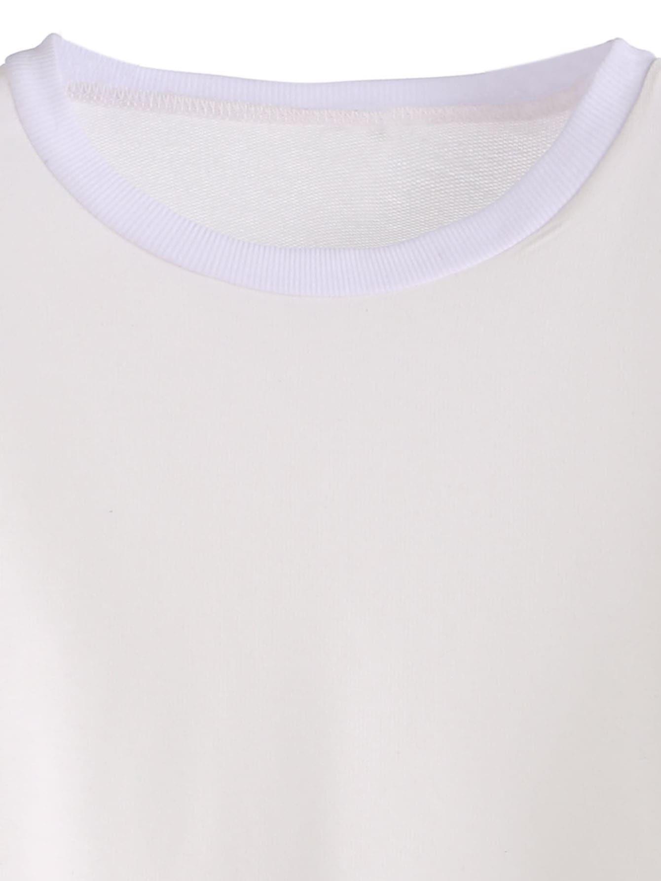 c94b8537451 White Varsity Striped Sleeve Crop T-shirt EmmaCloth-Women Fast ...