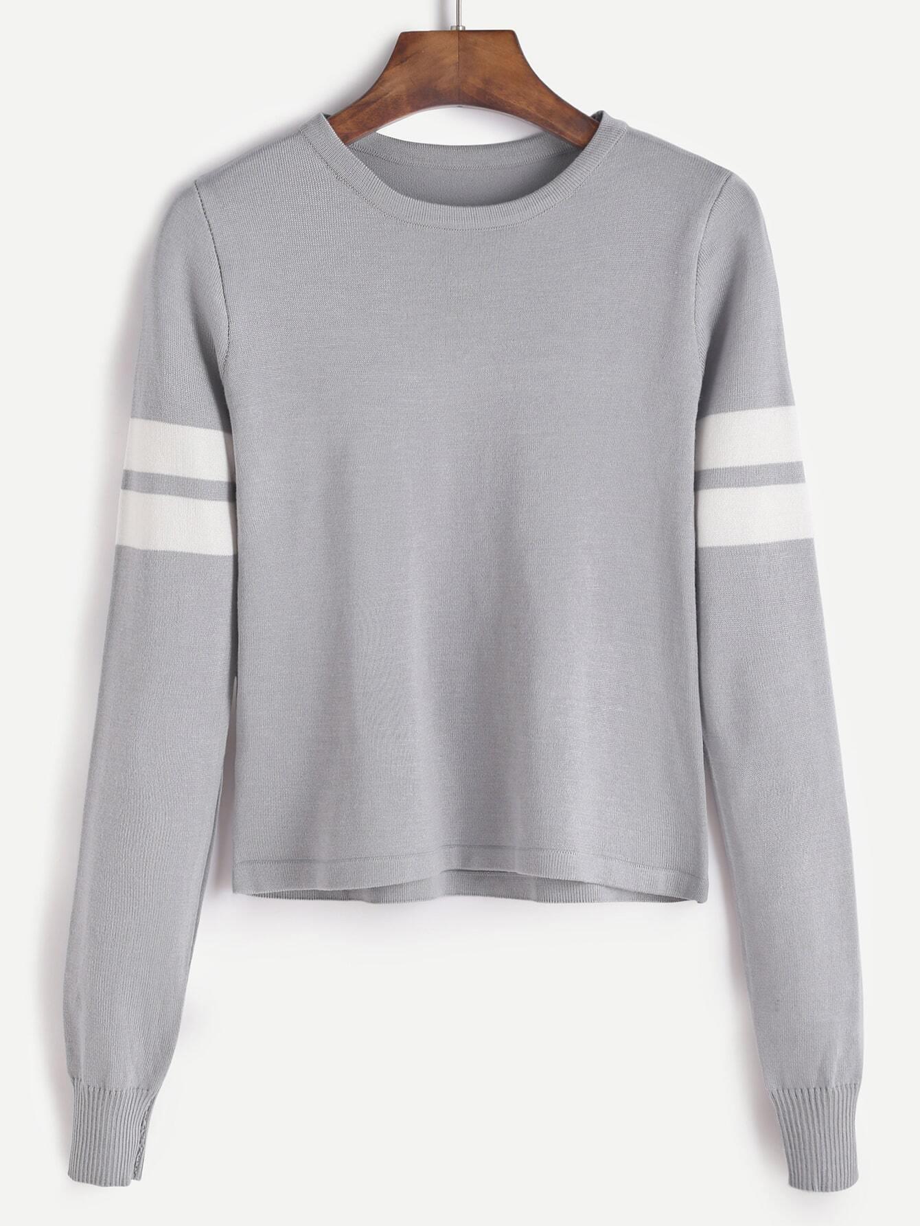 4fc92c3156d Grey Varsity Striped Sweater EmmaCloth-Women Fast Fashion Online