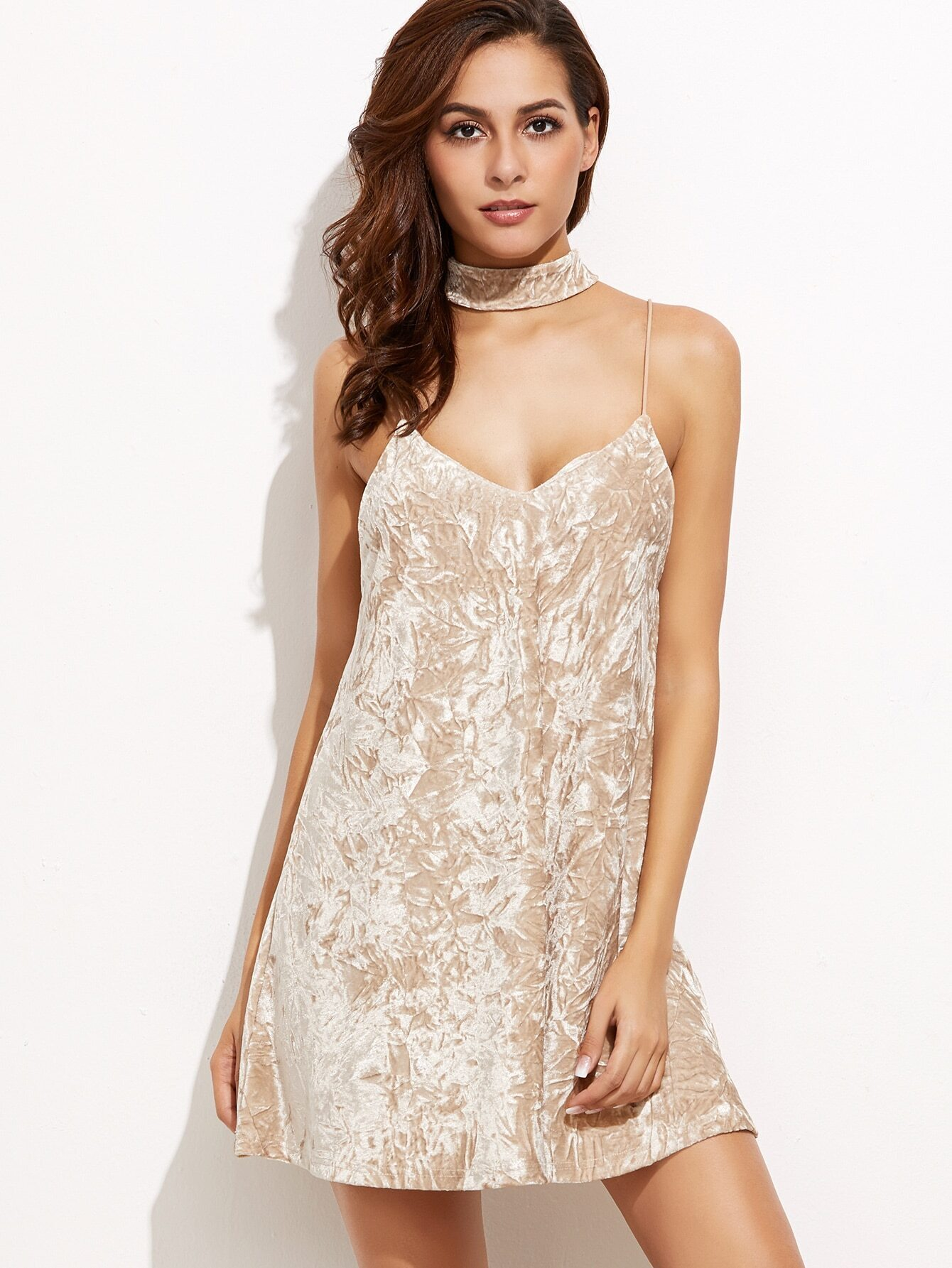 85c6ed9d5d0ca Apricot Crushed Velvet Cami Dress With Neck Tie EmmaCloth-Women Fast Fashion  Online