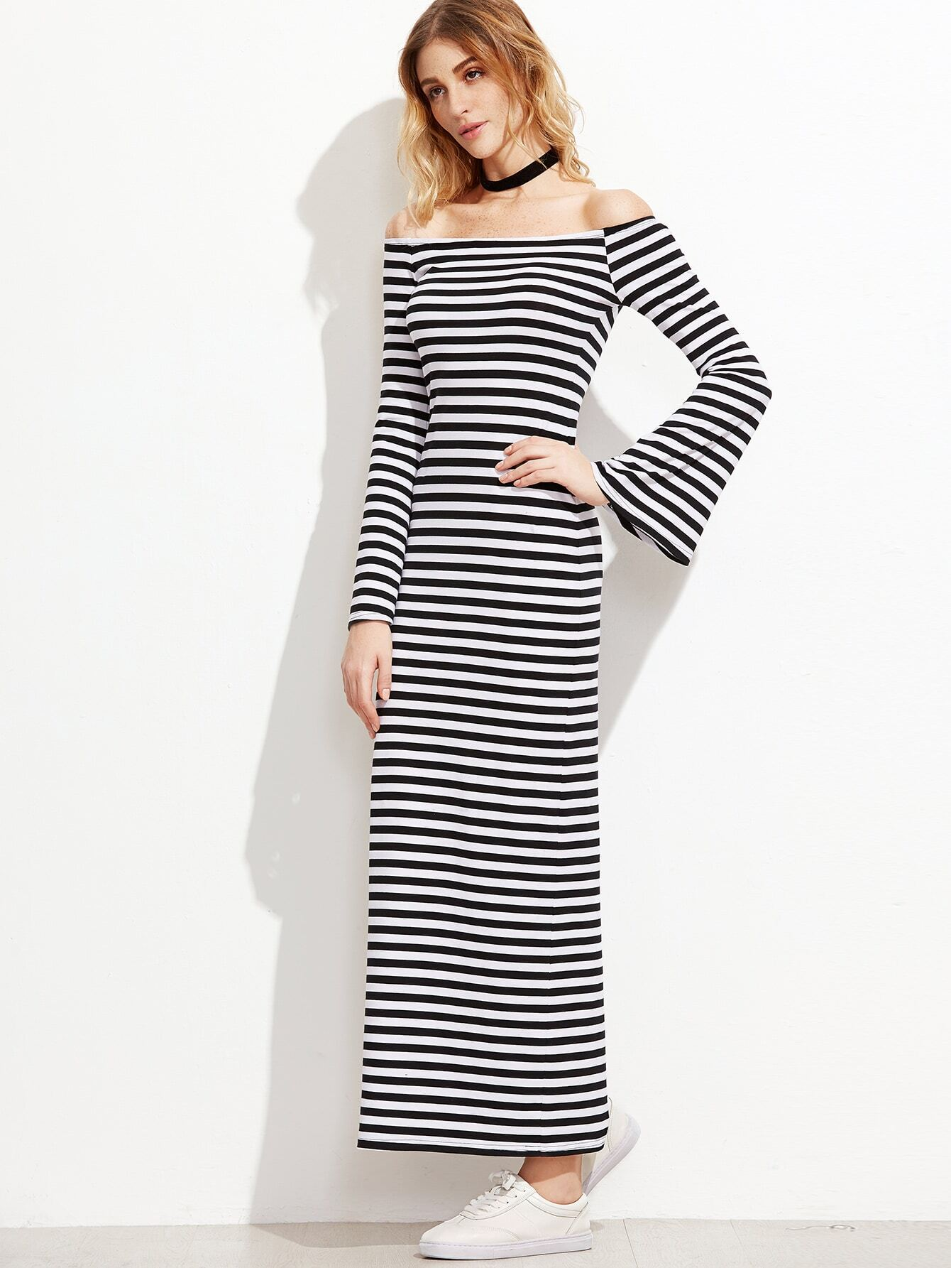 5bc872b119a61 Black And White Striped Off The Shoulder Bell Sleeve Dress EmmaCloth ...