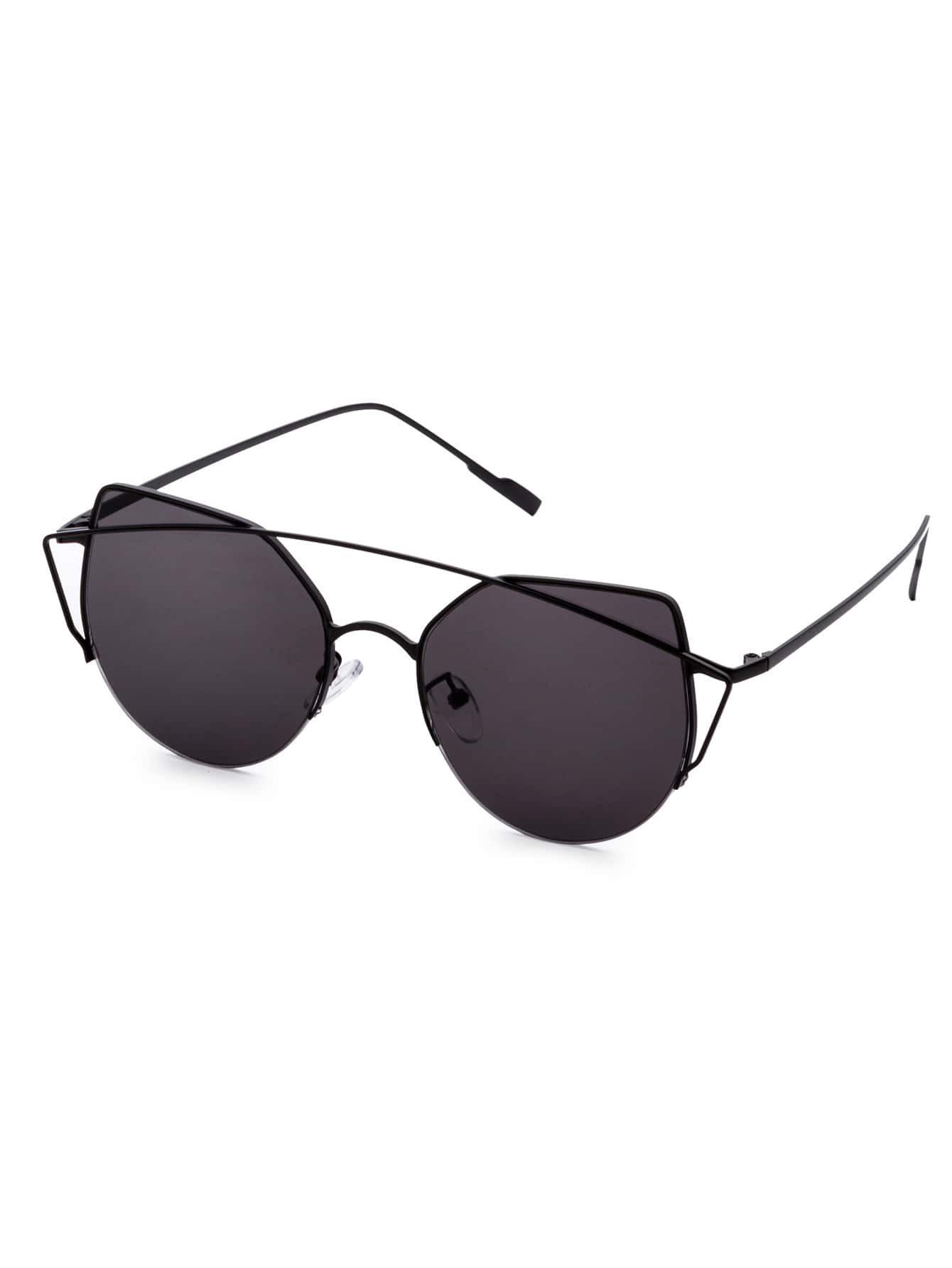 581d030735 Black Frame Double Bridge Cat Eye Sunglasses EmmaCloth-Women Fast ...