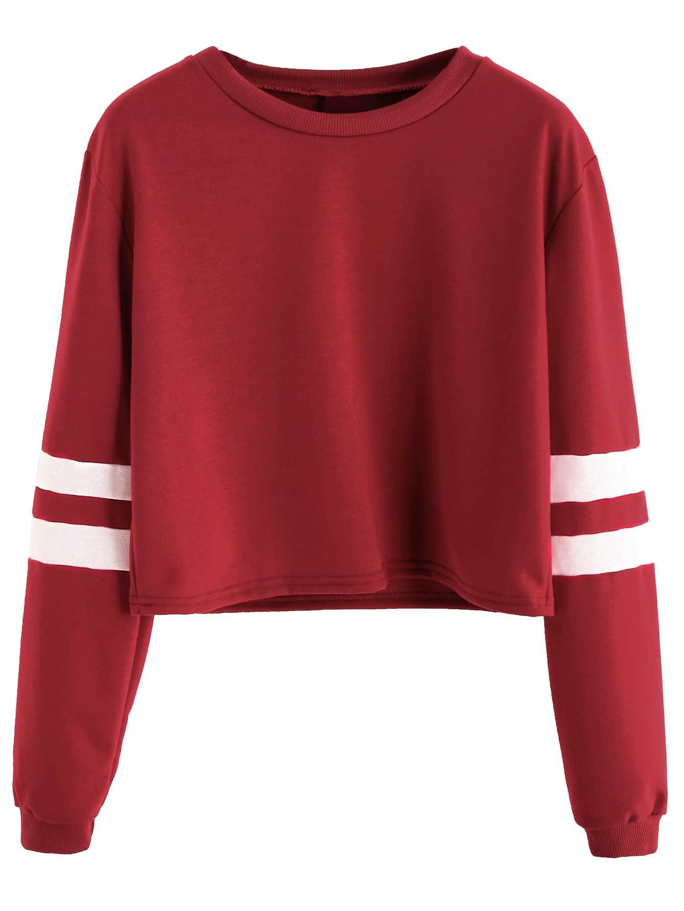 a752671c441 Burgundy Varsity Striped Sleeve Crop T-shirt EmmaCloth-Women Fast ...