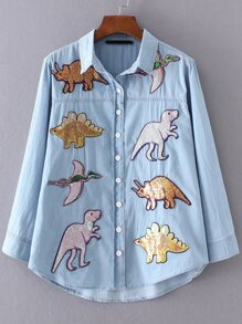 Blue Sequin Dinosaur Dip Hem Blouse