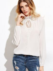 Contrast Lace Crochet Trim Blouse