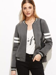 Grey Striped Trim Zipper Up Bomber Jacket