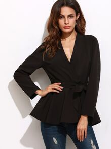 Black Surplice Wrap Peplum Blazer