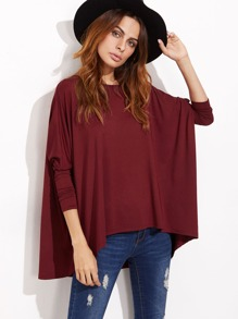 Burgundy Boat Neck Oversized Dolman Sleeve T-shirt
