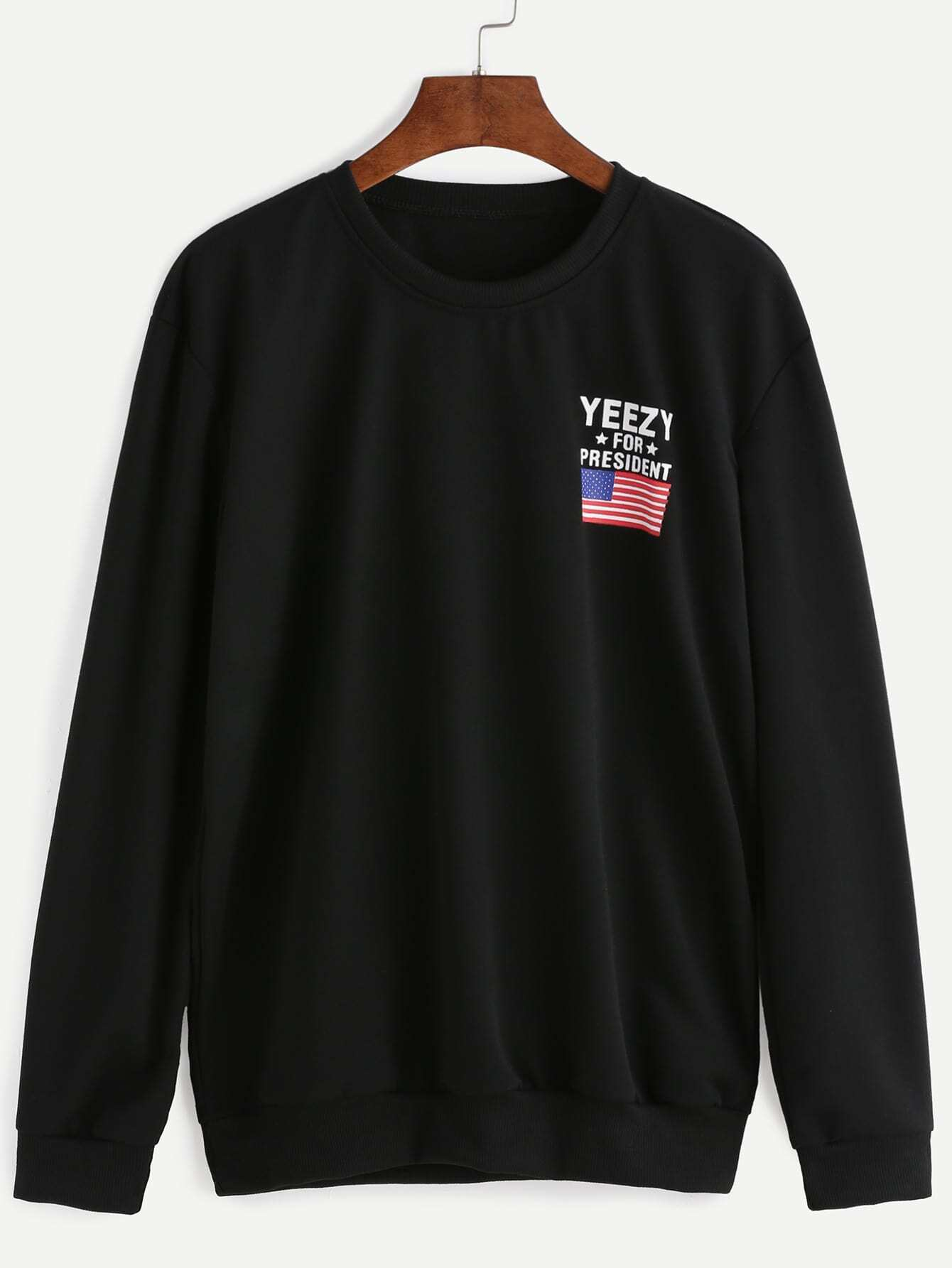 Black American Flag And Letter Print Sweatshirt Emmacloth Women Fast Tendencies Tshirt Great Again Hitam M Pictures