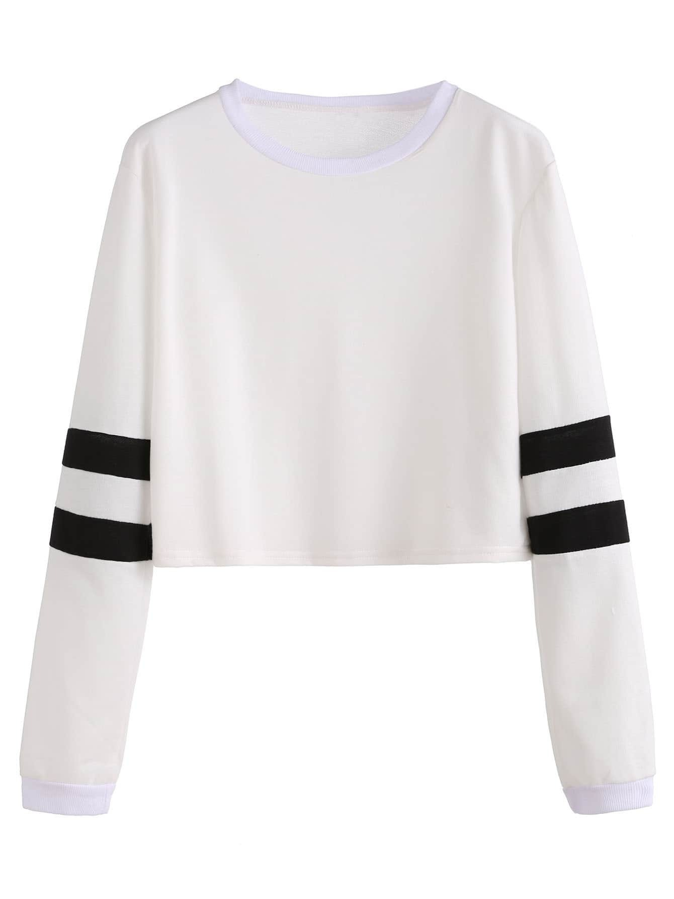 097a50f0a972a7 White Varsity Striped Sleeve Crop T-shirt EmmaCloth-Women Fast ...