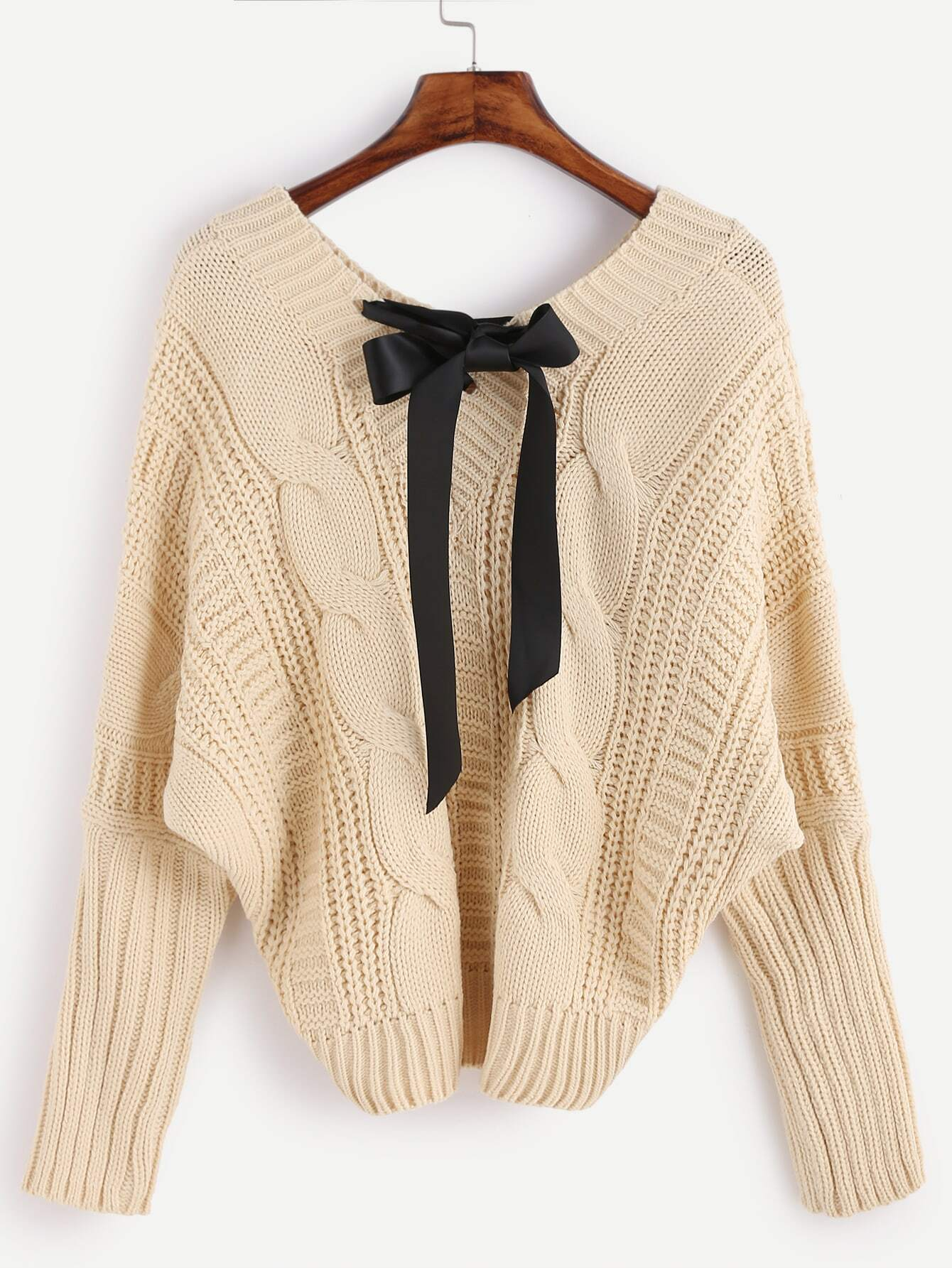 8c201ee1ca V Neck Batwing Sleeve Bow Tie Cable Knit Sweater EmmaCloth-Women ...
