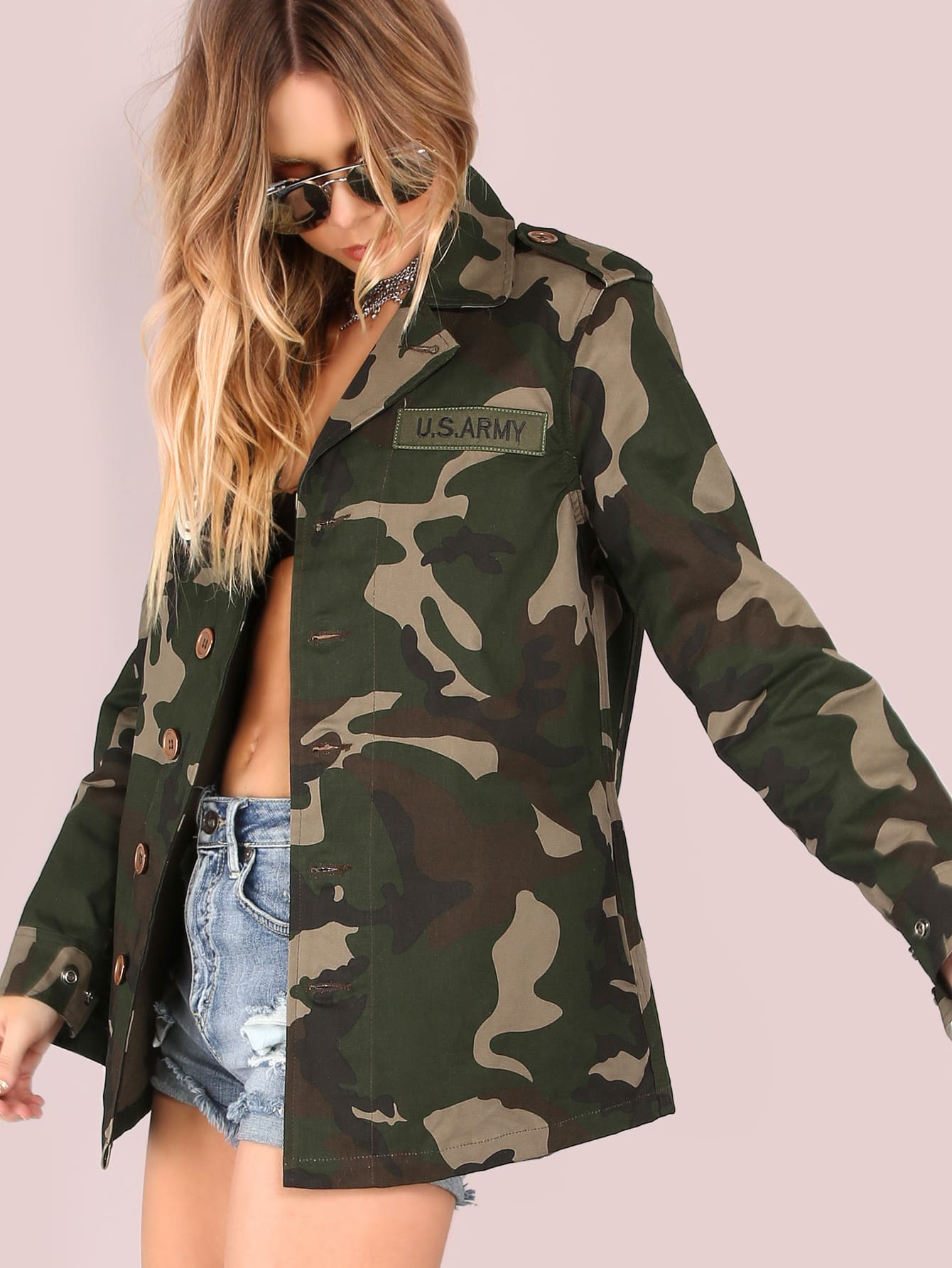 df30f5bccb Lightweight Camo Patch Button Down Jacket CAMOUFLAGE EmmaCloth-Women ...