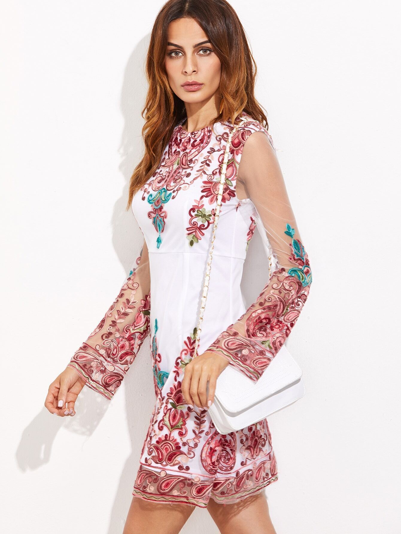 bd8b49c7c3 White Sheer Sleeve Embroidered Mesh Overlay Dress EmmaCloth-Women Fast  Fashion Online