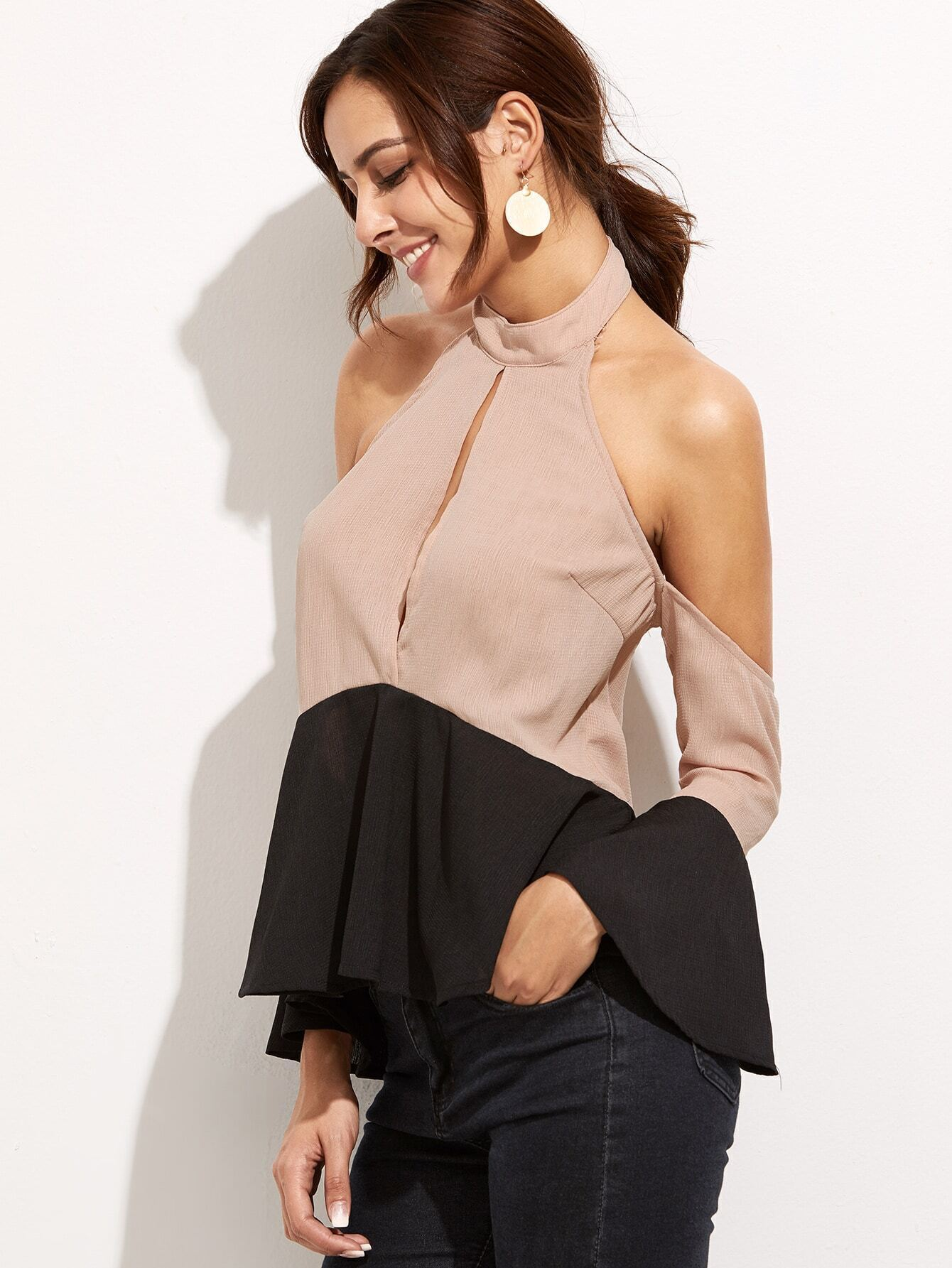 1fa6e1eecd2 Contrast Keyhole Halter Neck Top EmmaCloth-Women Fast Fashion Online