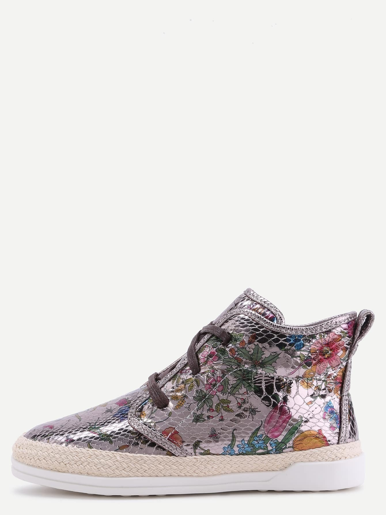 4ec607dfae7 Floral PU Snakeskin Espadrille Sneakers EmmaCloth-Women Fast Fashion ...