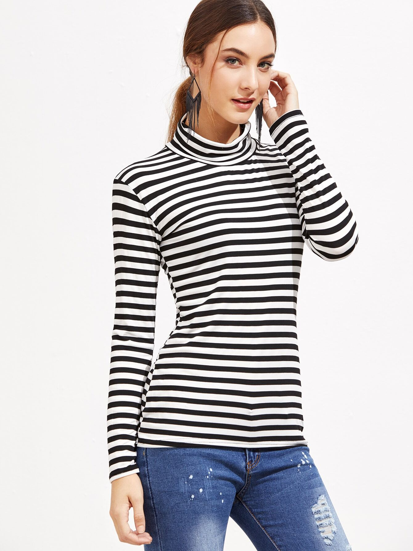 32b1a9b45 Black And White Striped High Neck T-Shirt EmmaCloth-Women Fast ...