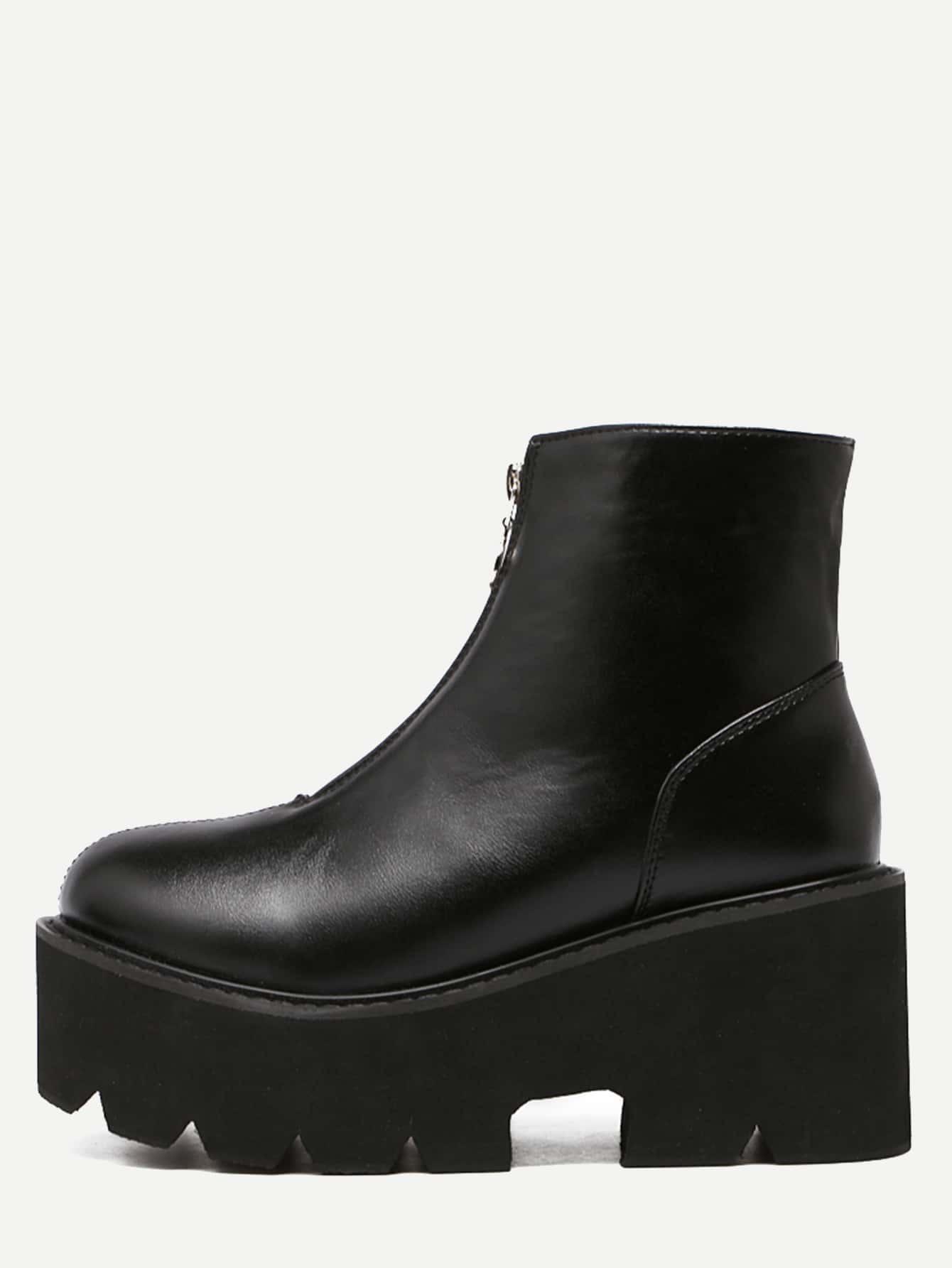 ac6c0c3219a Black Faux Leather Front Zipper Platform Boots EmmaCloth-Women Fast ...