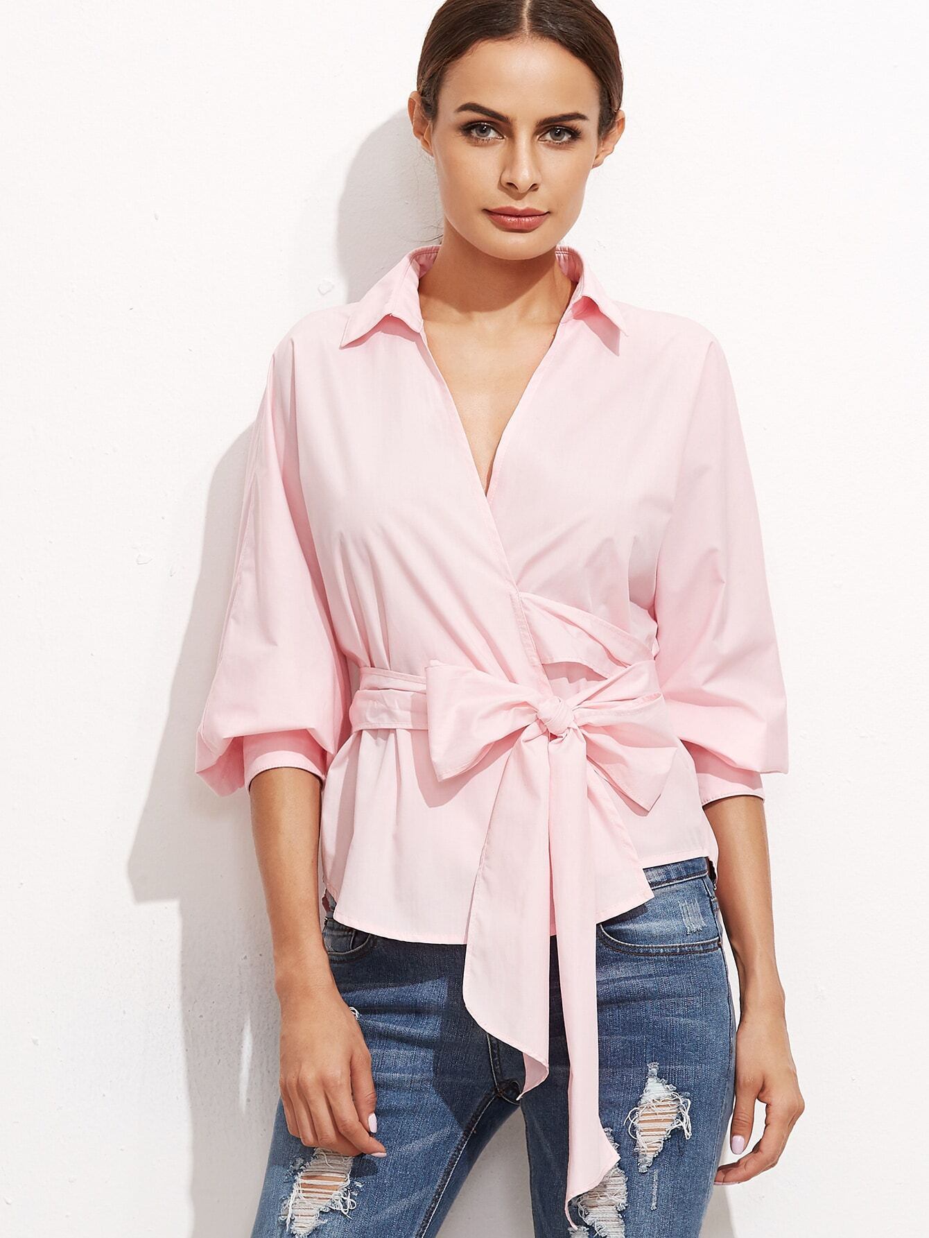 c95348df73f4b Pink Surplice Wrap Blouse EmmaCloth-Women Fast Fashion Online