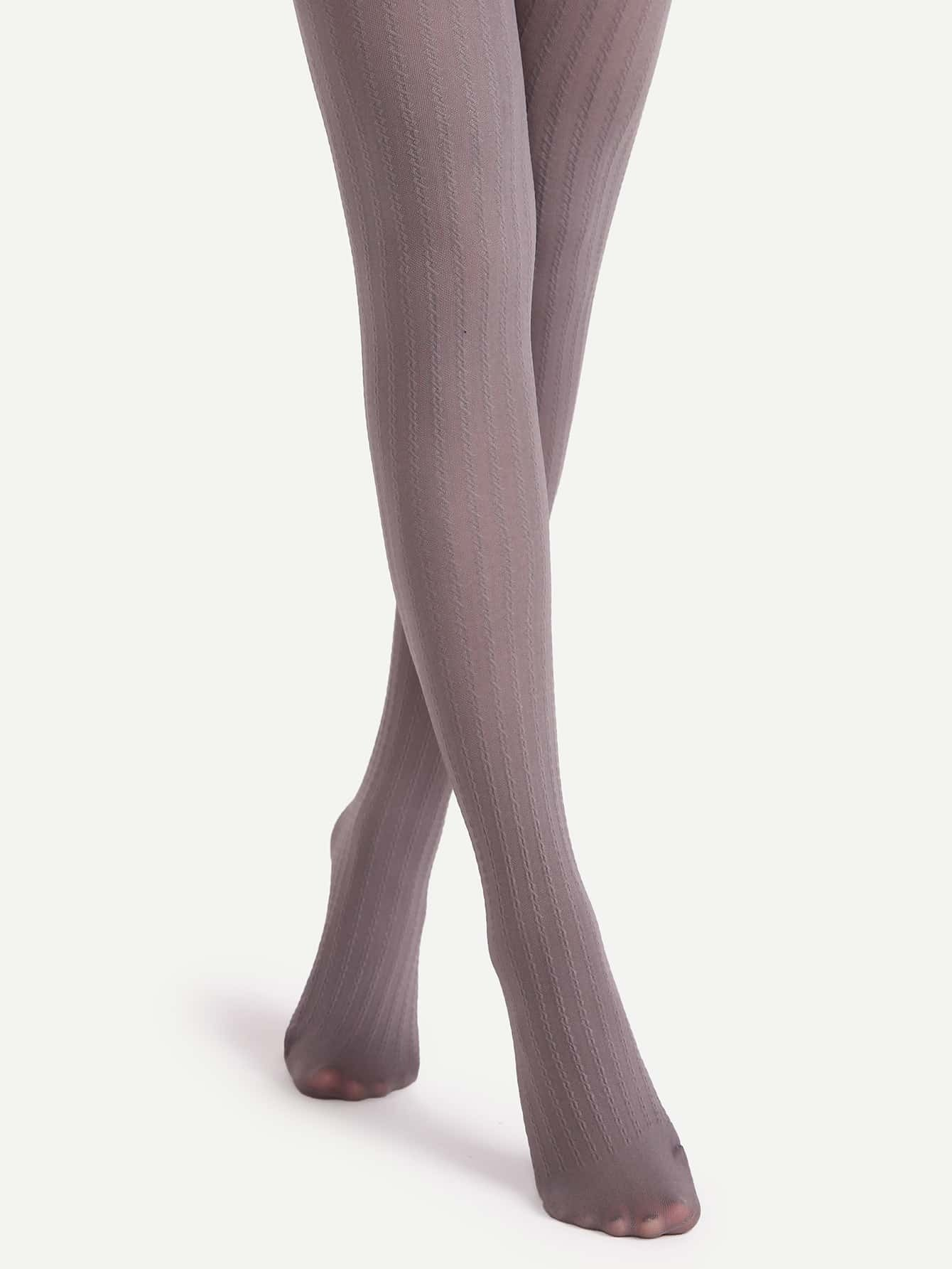 71fa39374 Grey High Stretch Textured Pantyhose Stockings EmmaCloth-Women Fast ...