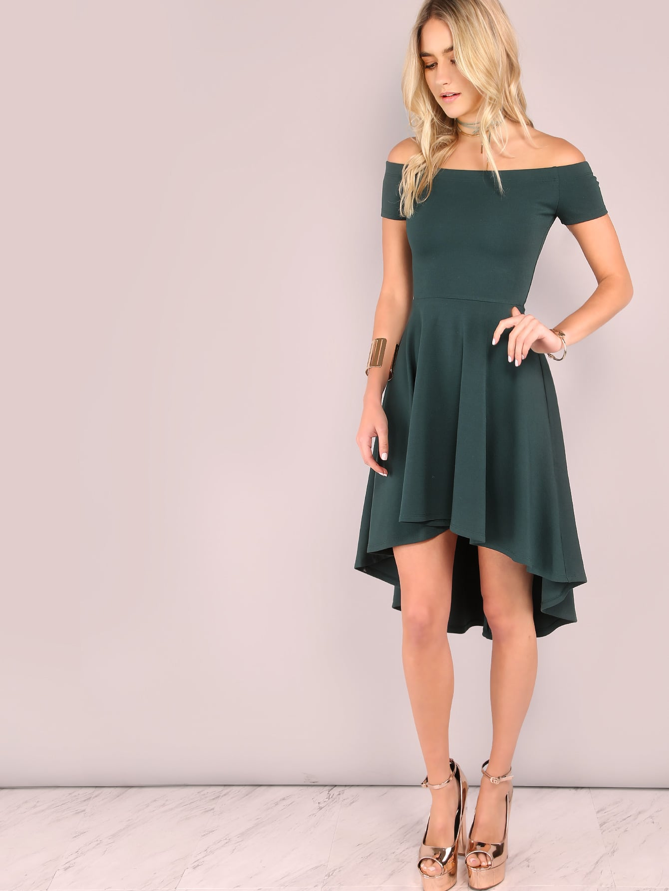 Dark Green Off The Shoulder High Low Skater Dress EmmaCloth-Women Fast  Fashion Online 15b21f20d