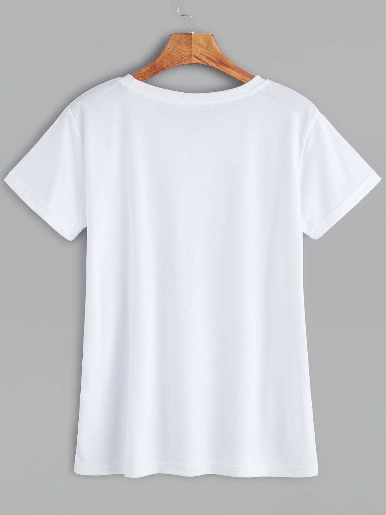 8af592a1c7 White Hand Print Casual T-shirt EmmaCloth-Women Fast Fashion Online