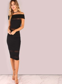 Off Shoulder Mesh Panel Bodycon Dress BLACK