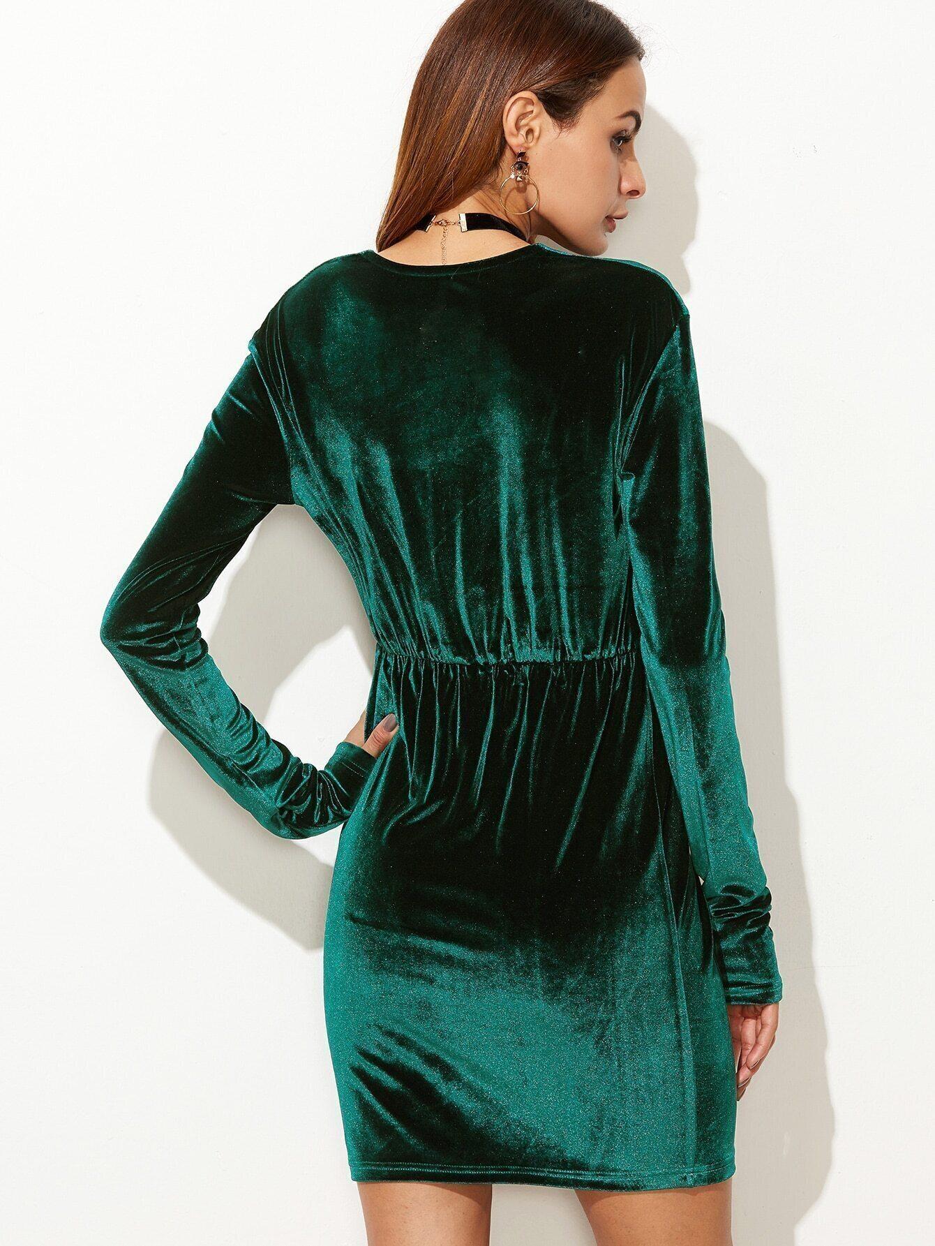 Dark Green Plunge Neck Elastic Waist Velvet Dress EmmaCloth-Women ... a6dbbf740