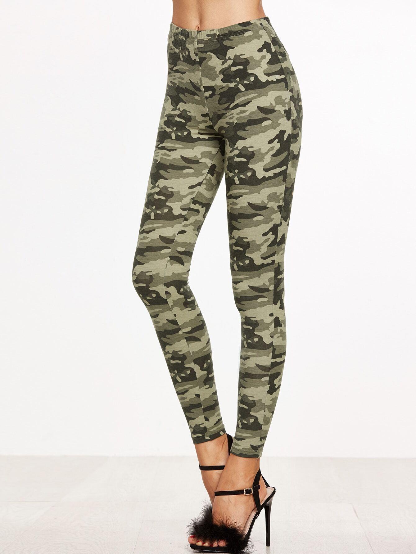 Olive Green Camo Print Leggings EmmaCloth-Women Fast Fashion Online da22faafecd