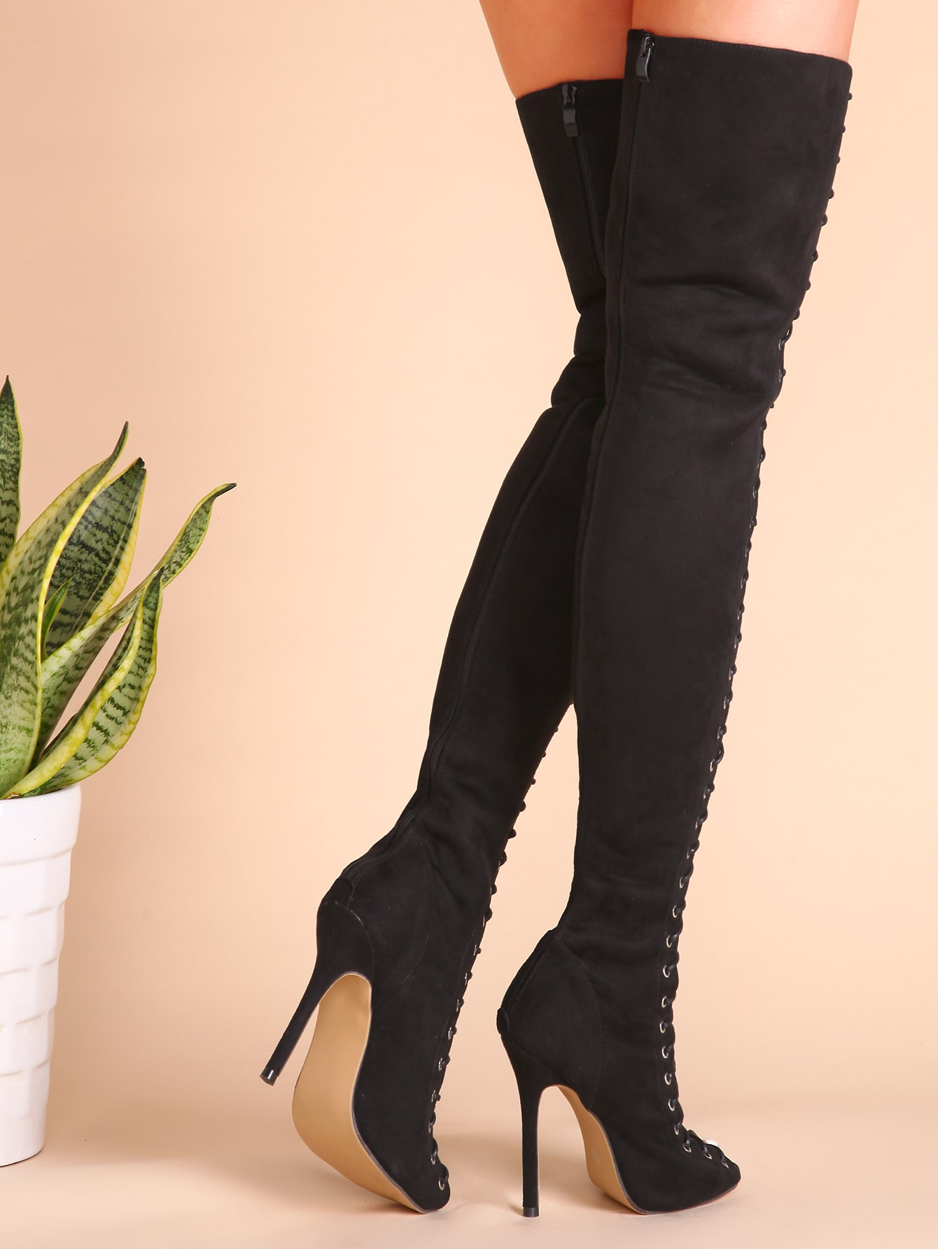 67923e34a49 Black Sexy Criss Cross Lace Up Suede Thigh High Boots EmmaCloth-Women Fast Fashion  Online