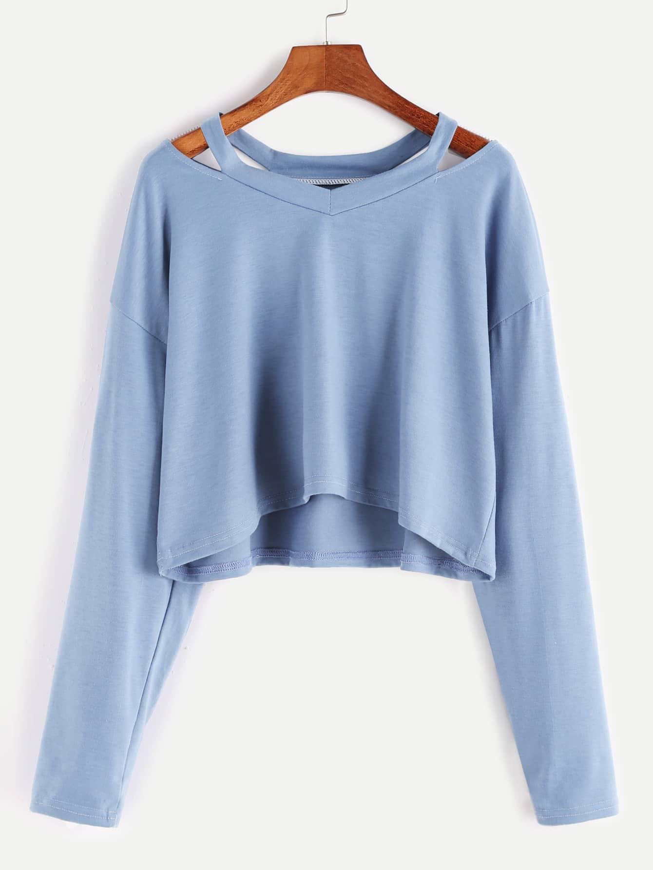 f92bc67984 Blue Cut Out Neck Crop T-shirt EmmaCloth-Women Fast Fashion Online