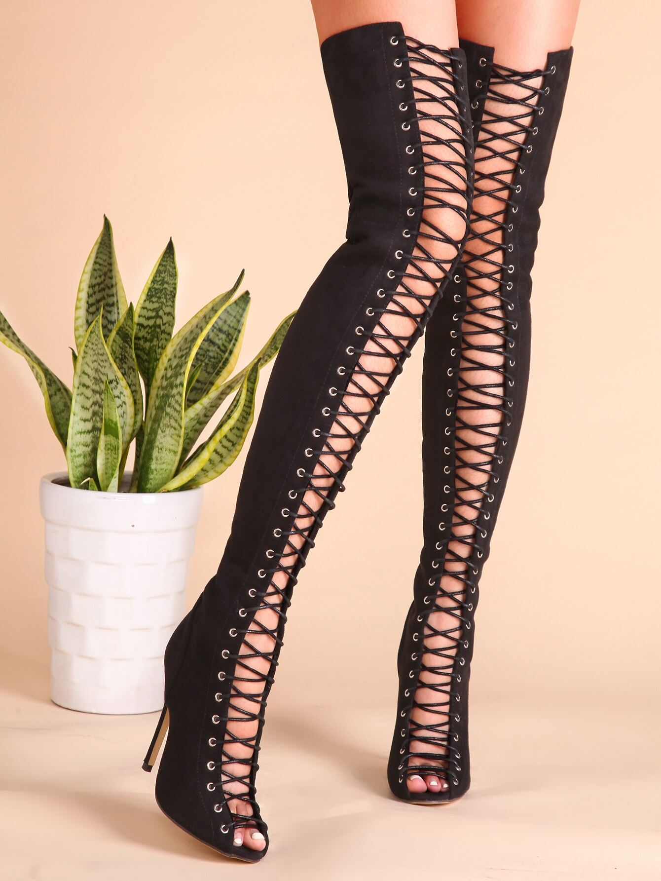3dda3fbaa55 Black Sexy Criss Cross Lace Up Suede Thigh High Boots EmmaCloth ...