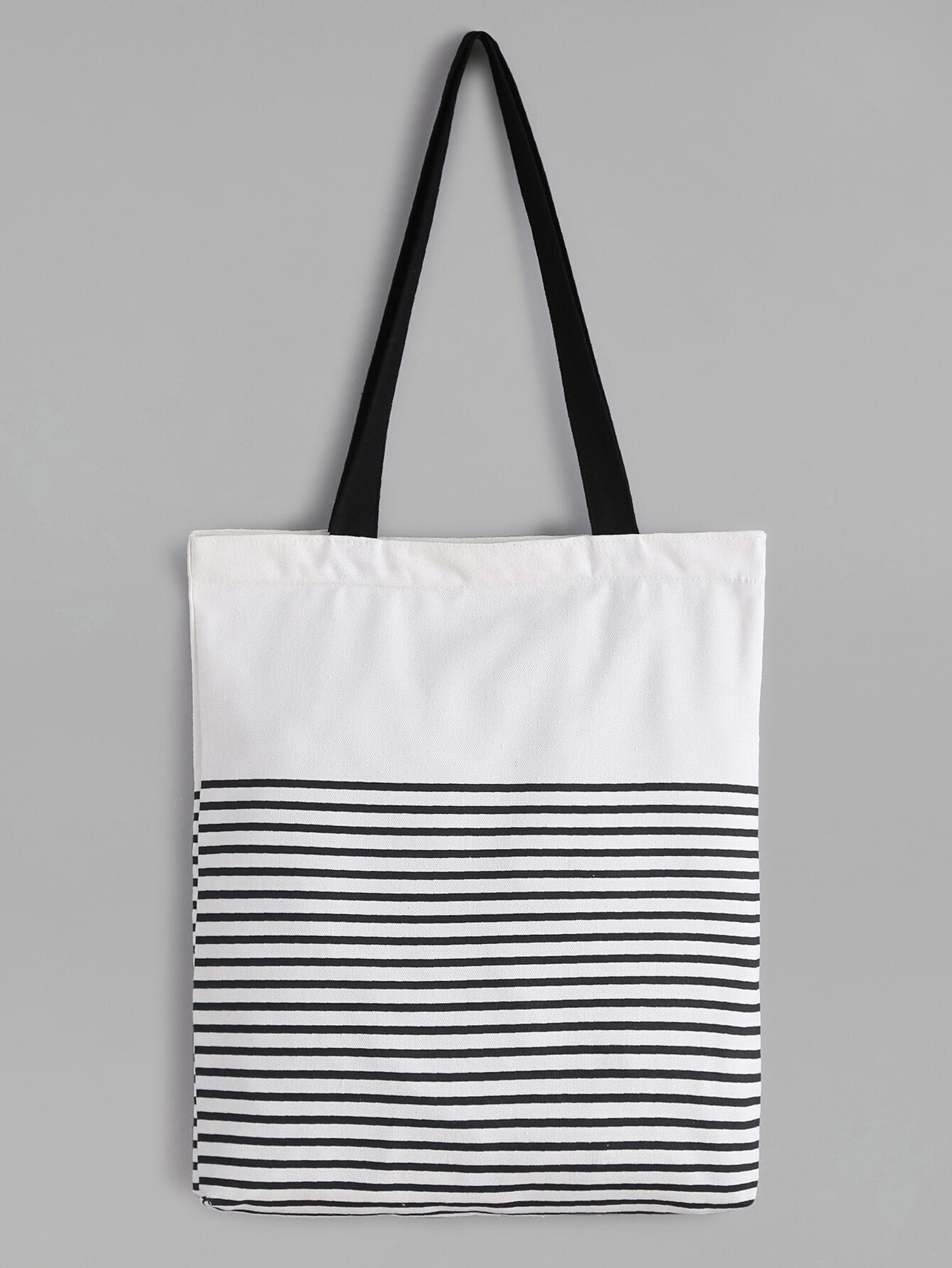 White Striped Canvas Tote Bag With Black Strap Pictures
