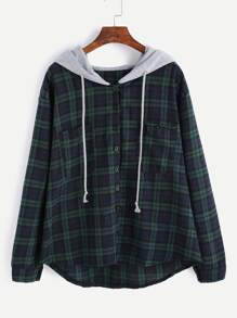 Plaid Button Pocket Sweatshirt With Contrast Hood