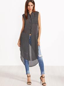 Black And White Striped Curved Hem Longline Sleeveless Blouse