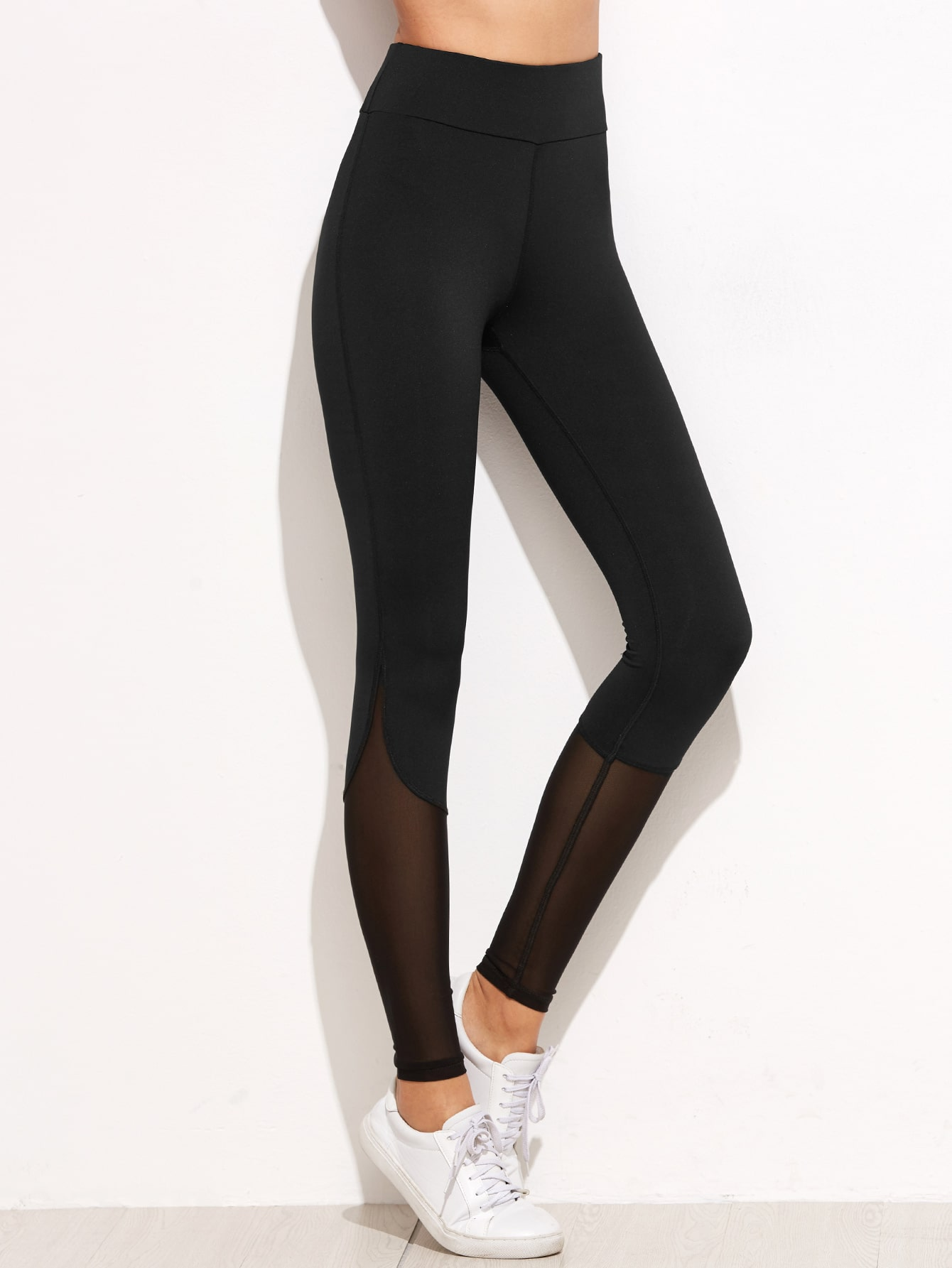 033ff0e74985e5 Black Contrast Mesh Leggings EmmaCloth-Women Fast Fashion Online