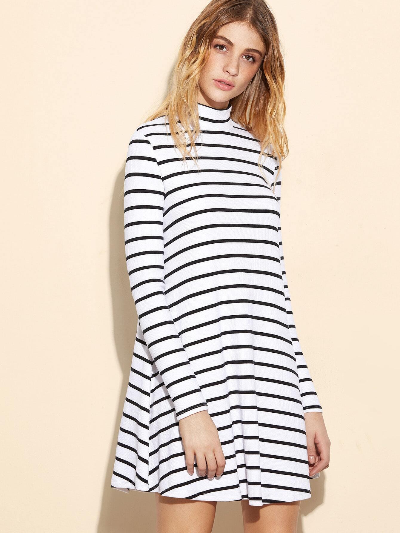 e6ab18b0f9 White Striped Ribbed Knit Swing Dress EmmaCloth-Women Fast ...