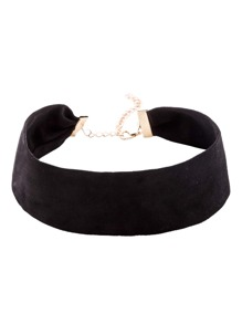 Black Suede Simple Wide Choker Necklace