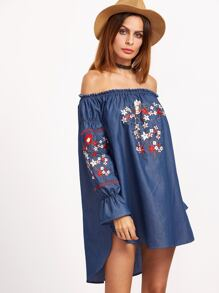 Blue Off The Shoulder High Low Embroidered Chambray Dress