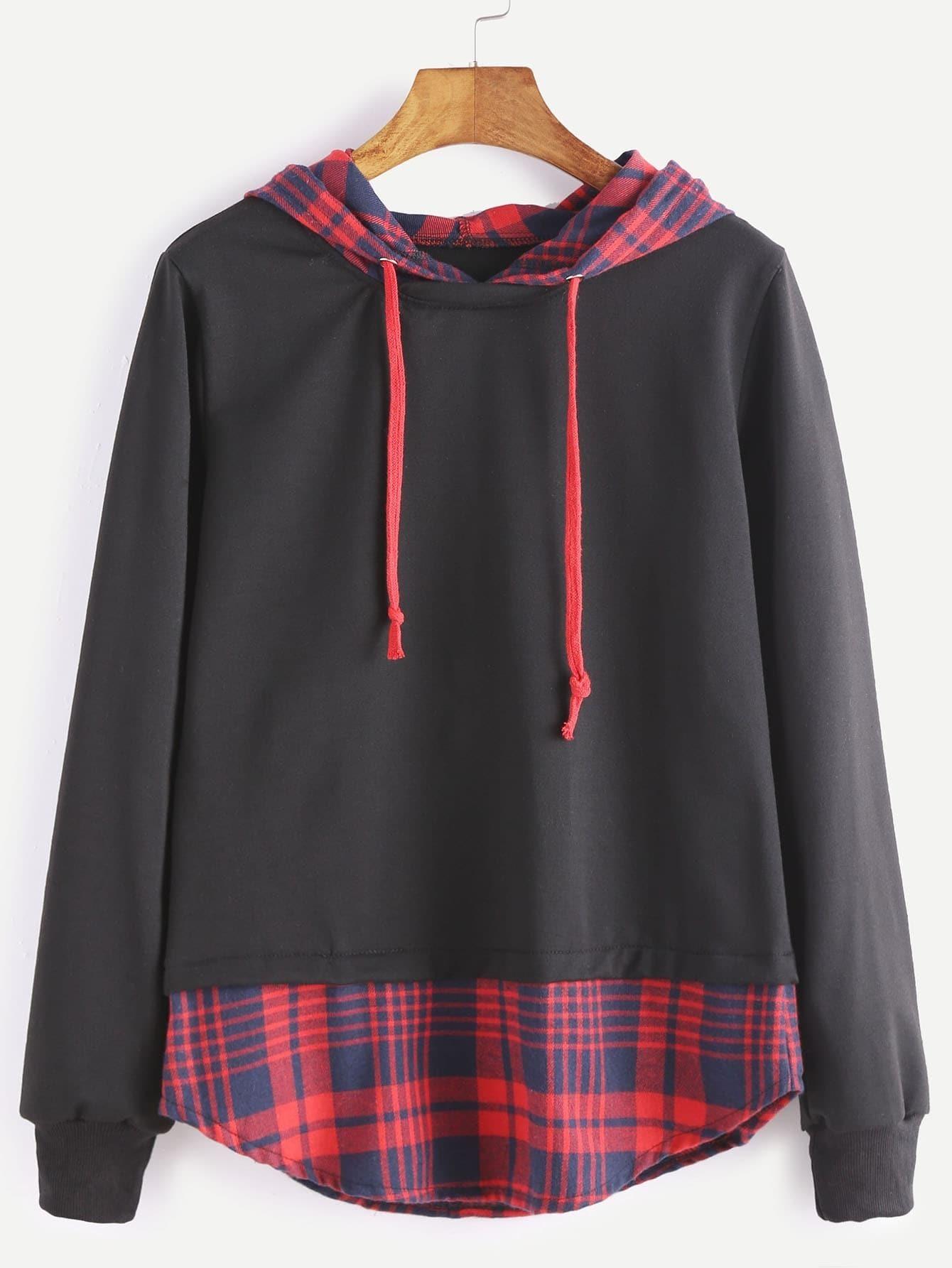 a573dea2b4d36 Black Hooded Contrast Plaid Hem 2 In 1 Sweatshirt EmmaCloth ...