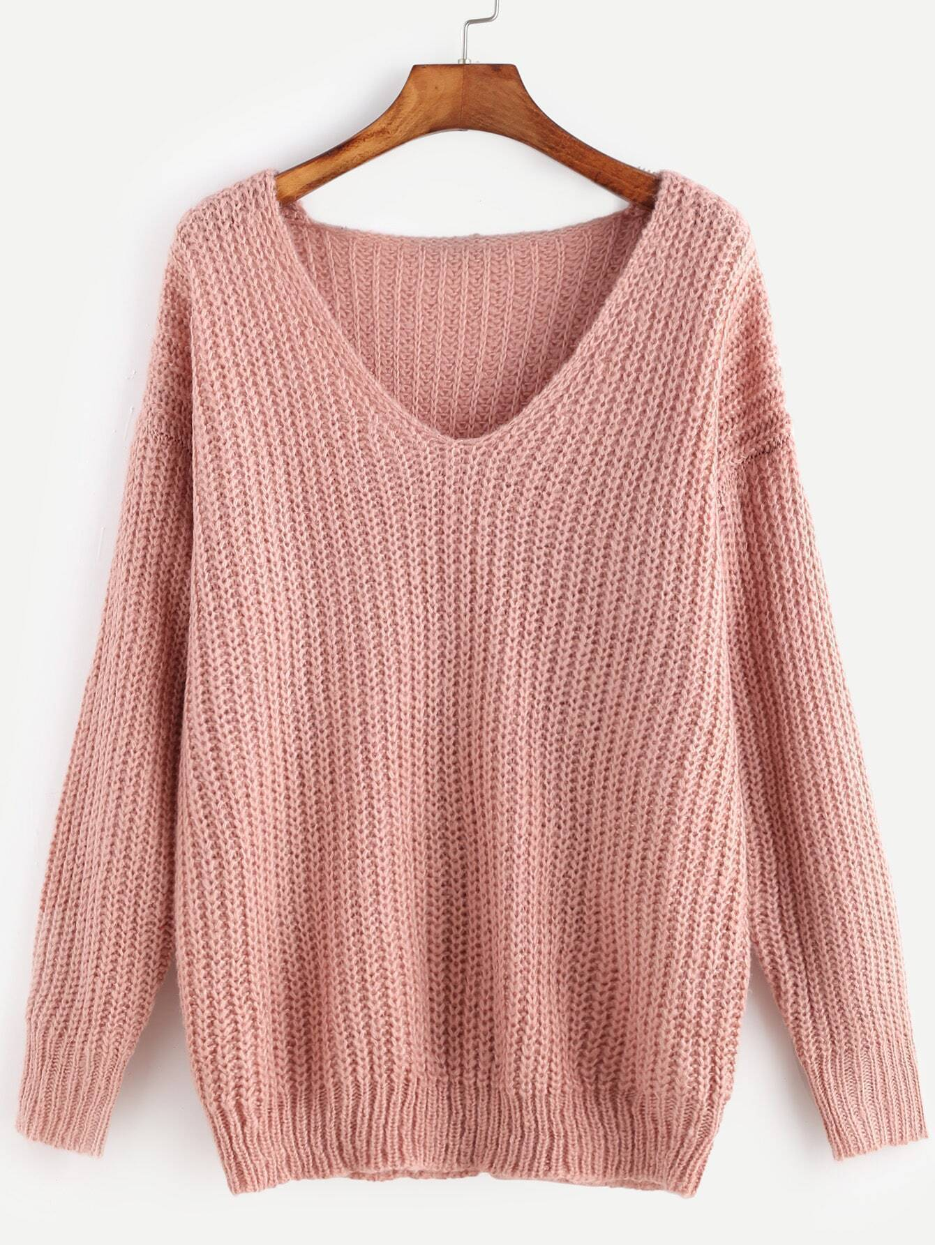 2b0a456671baa Pink Ribbed Knit V Neck Drop Shoulder Sweater EmmaCloth-Women Fast ...