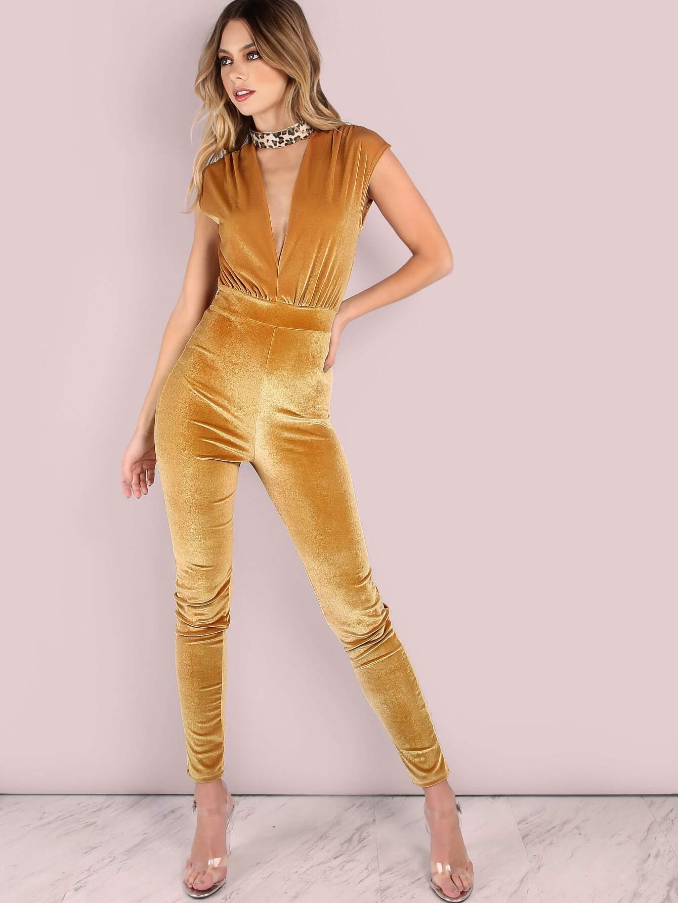 Velvet Plunge Jumpsuit Gold Emmacloth Women Fast Fashion Online Mobile Site