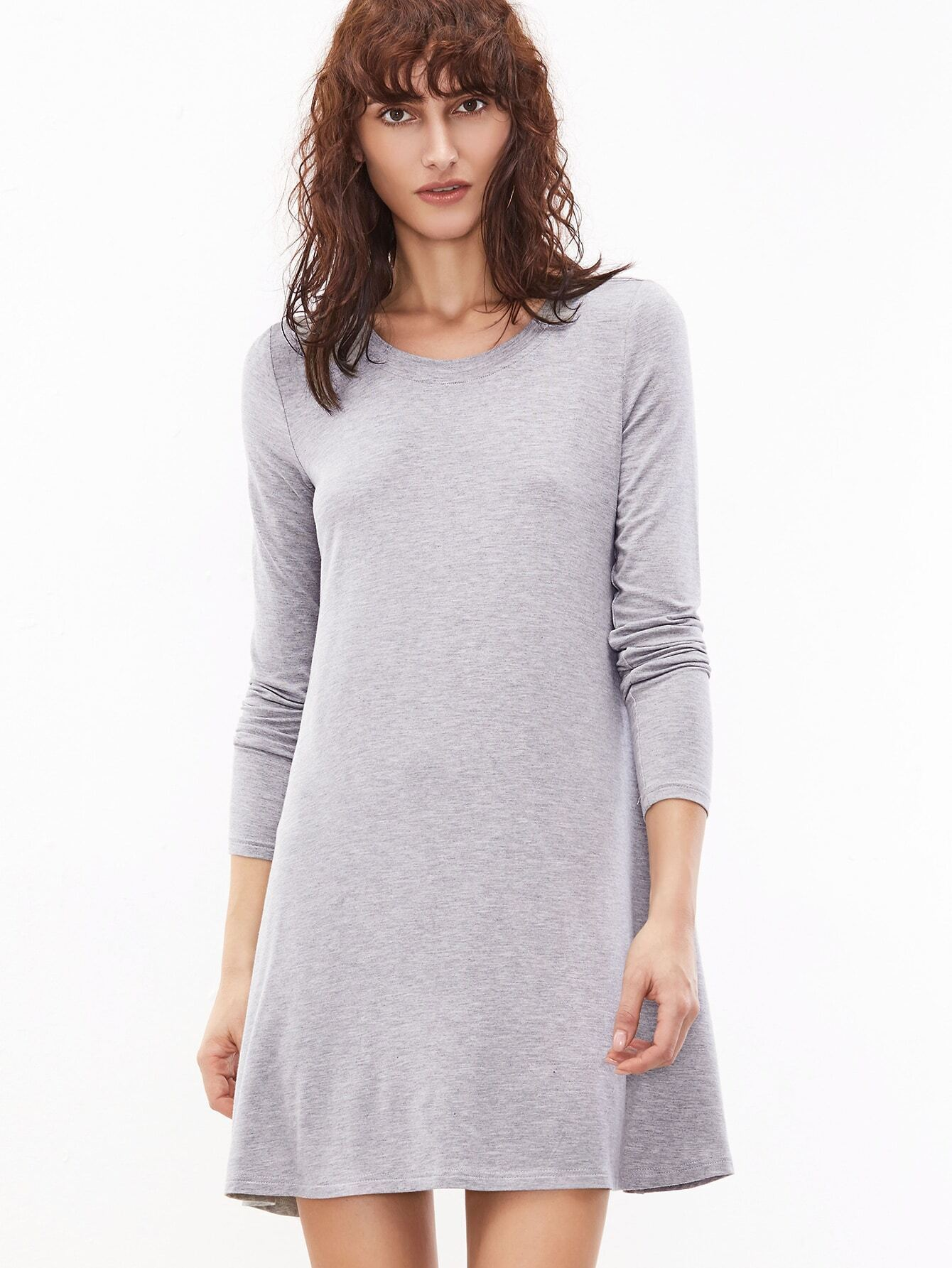 ac605969310 Heather Grey Long Sleeve T-shirt Dress EmmaCloth-Women Fast ...