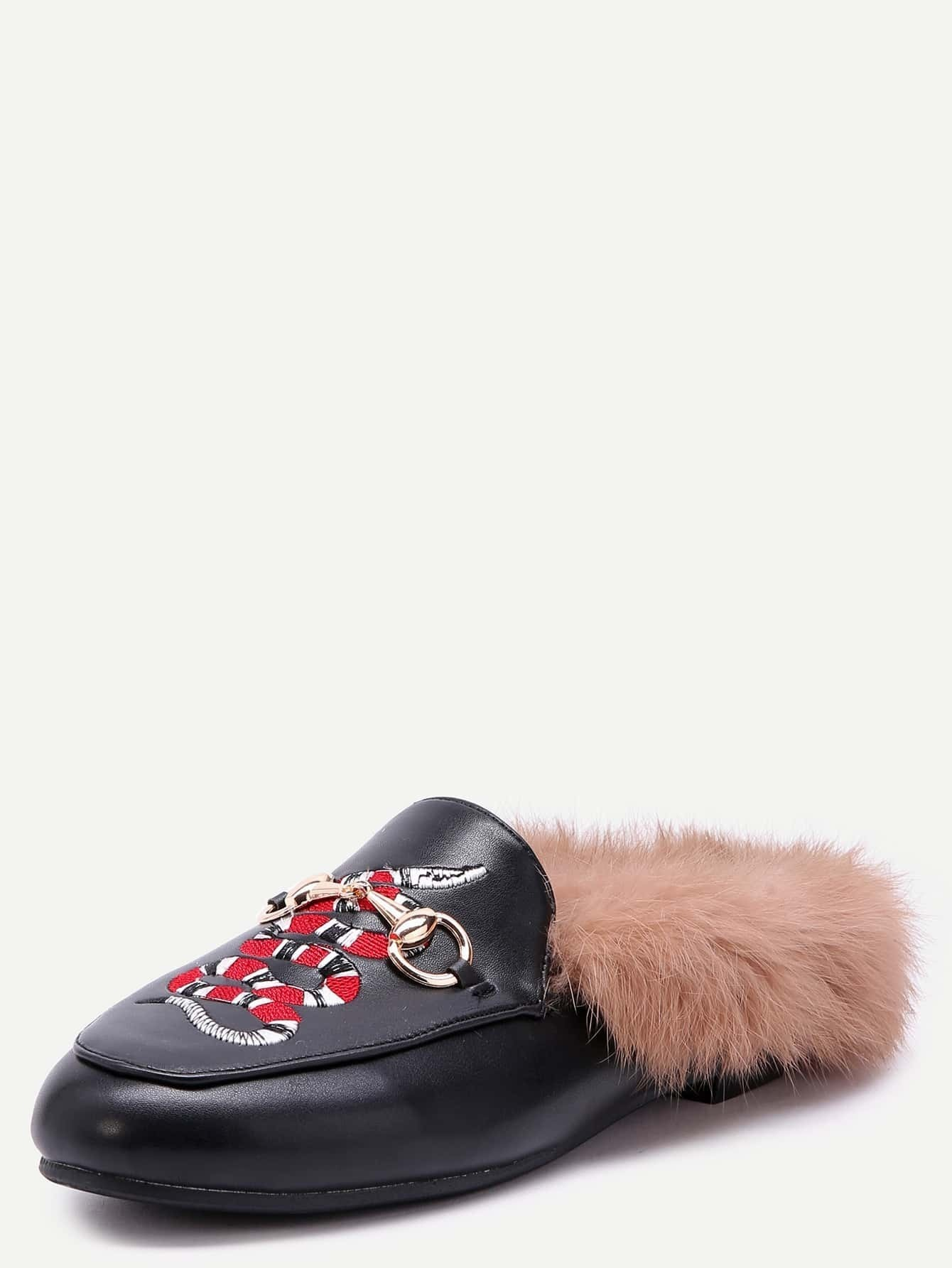 57a3bea4ea9 Black Snake Embroidered PU Fur Trim Loafer Slippers EmmaCloth-Women ...